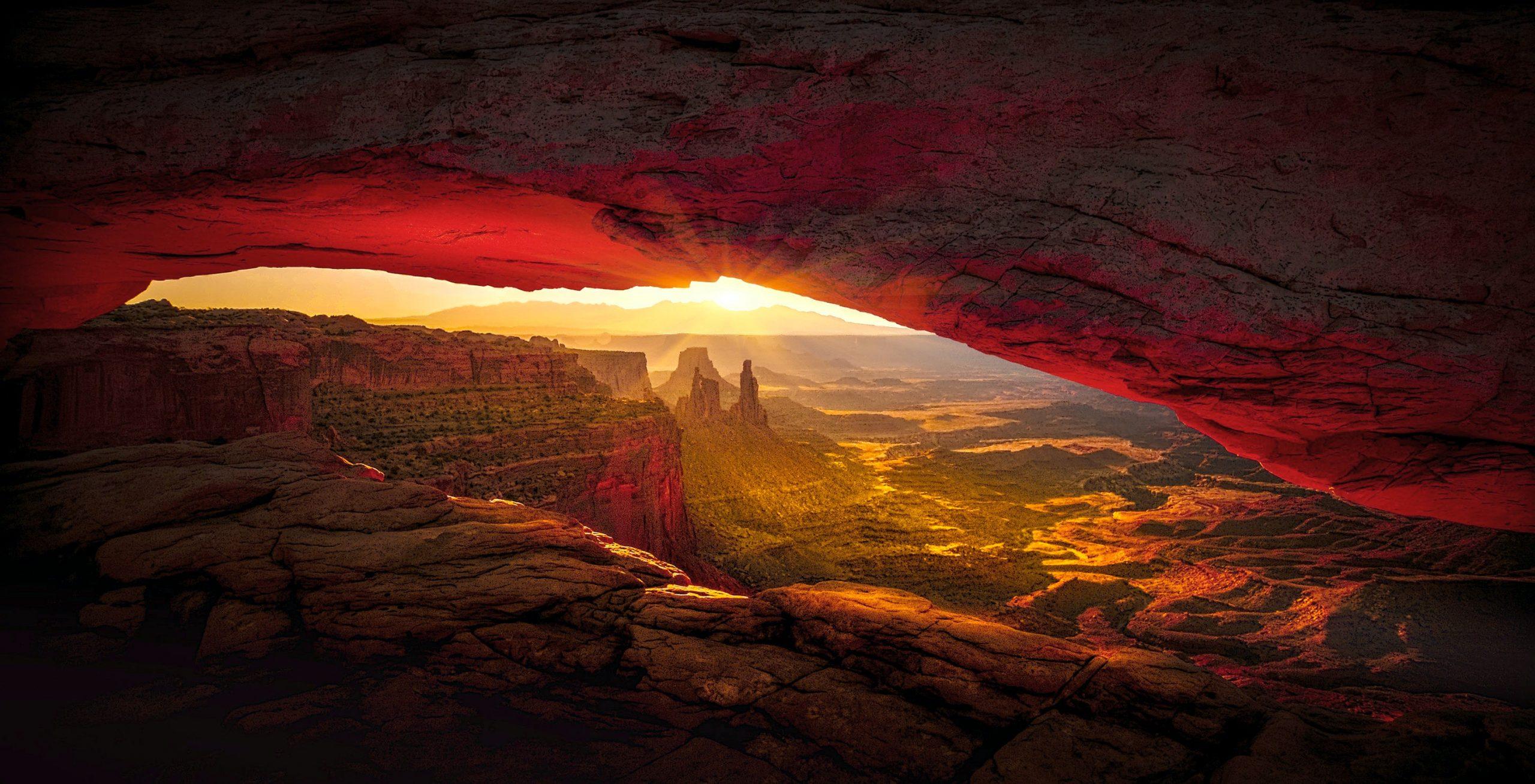 An eye shape image peeking into the Arizona mountains.