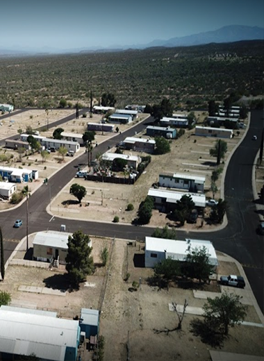 Drone view of the many mobile homes below.
